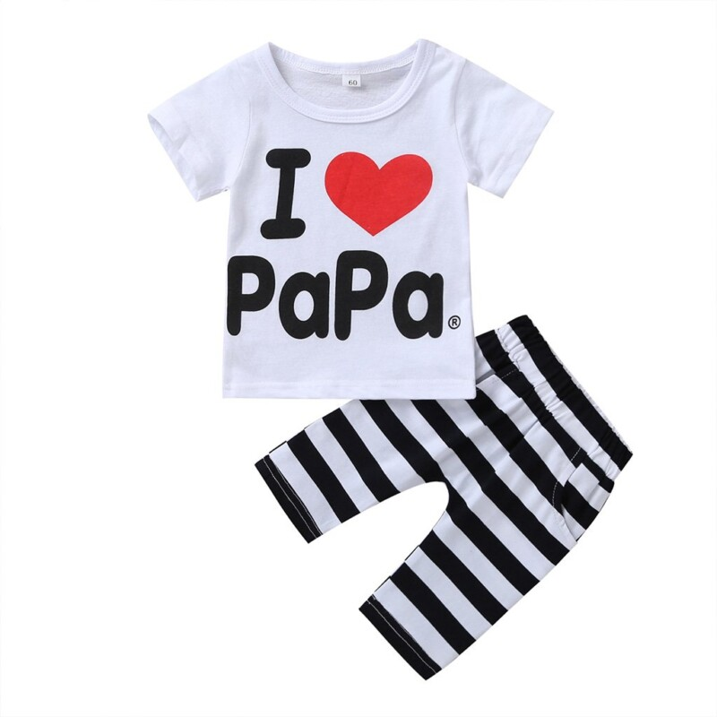 2-Piece Short-Sleeve Letter Print Tee and Striped Pants