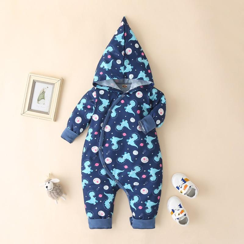 Dinosaur Pattern Hooded Romper for Baby Boy