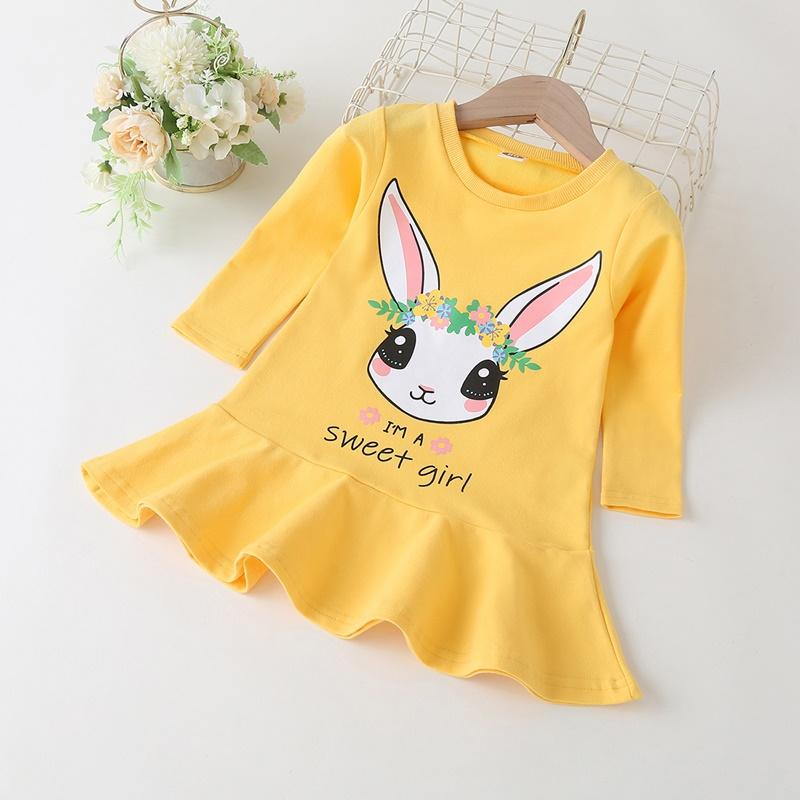 Rabbit Pattern Knee Length Dress for Toddler Girl