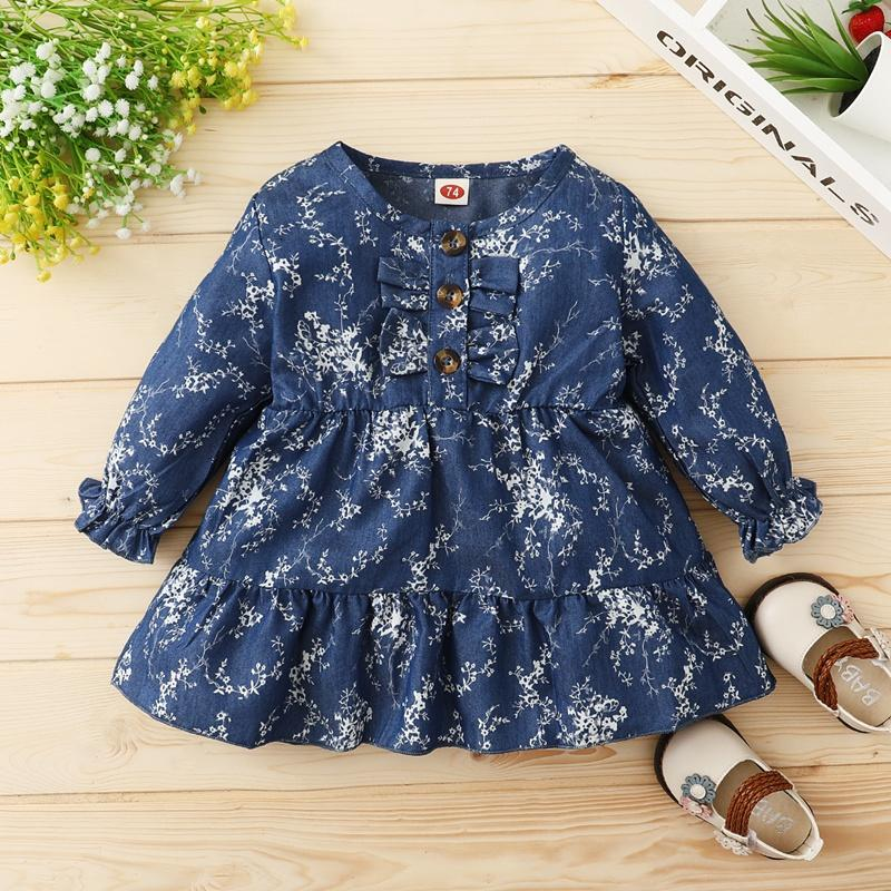 Blue floral Pattern Long Sleeve Dress for Baby Girl