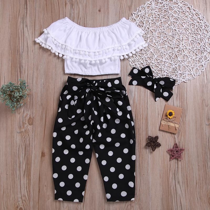 3-piece Solid Tassl Tops & Polka Dot Pants & Headband for Toddler Girl