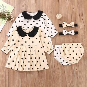 3-piece Polka Dot Dress & Shorts & Headband for Baby Girl