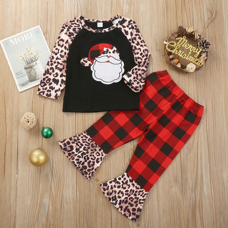2-piece Leopard Pattern Sweatshirt & Plaid Pants for Toddler Girl
