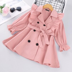 Solid Ruffle Trench for Toddler Girl