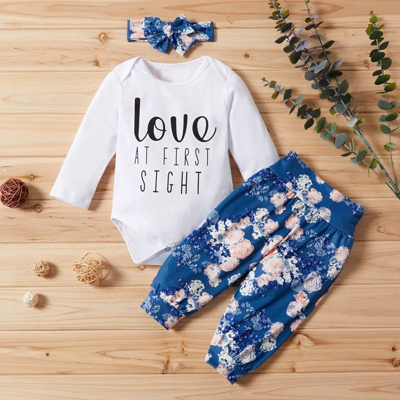 3-piece Letter Bodysuit, Floral Pants with Headband