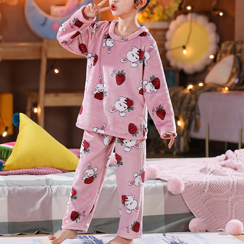 2-piece Fleece-lined Fruit Pattern Pajamas Sets for Girl