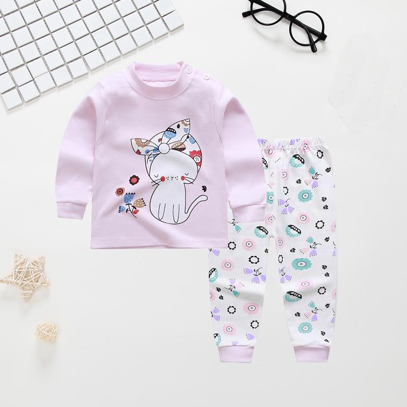 Cute Cartoon Cat Printed Cotton Long-sleeve Pajamas Set