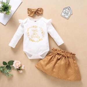 3-piece Headband & Romper & Skirts for Baby Girl