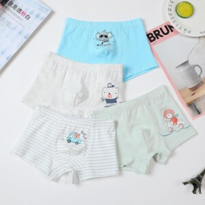 4-piece Cartoon Design Underwears for Toddler Boy