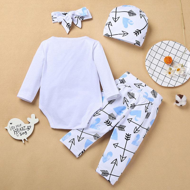 4-piece Letter Pattern Bodysuit & Pants & Headband & Hat for Baby