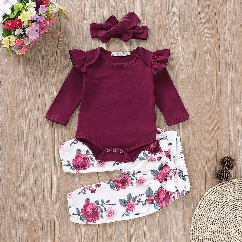 3-piece Solid Ruffle Bodysuit with Headband & Pants for Baby Girl Children's