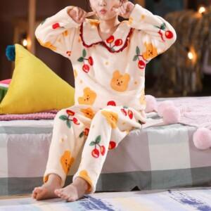 2-piece Fleece-lined Pajamas Sets for Girl