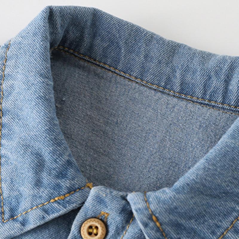 Long-Sleeve Animal Print Denim Jumpsuit