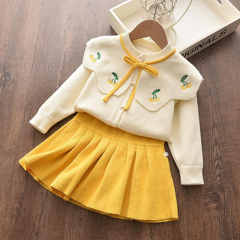 2-piece Lapel Collar Tops & Solid Skirt for Toddler Girl