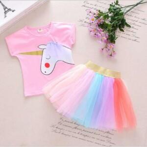 2-piece Horse Pattern Vest & Skirt for Toddler Girl