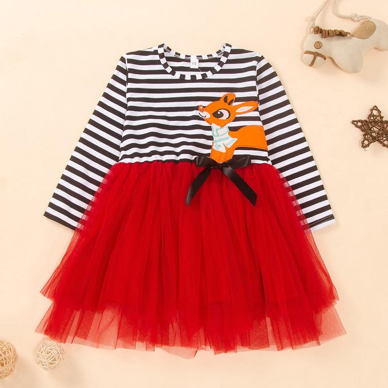 Stripes Patchwork Tulle Dress for Toddler Girl