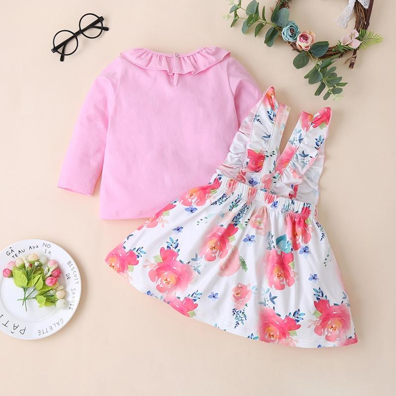 2-piece Pullover & Floral Pattern Skirt for Toddler Girl
