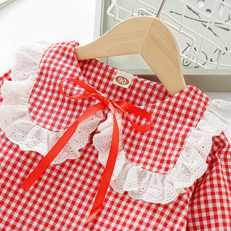 Plaid Lace Lapel Collar Blouse for Toddler Girl