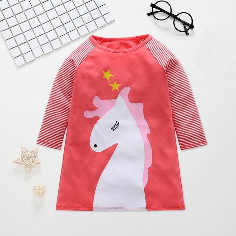 Cartoon Horse Pattern Dress for Toddler Girl