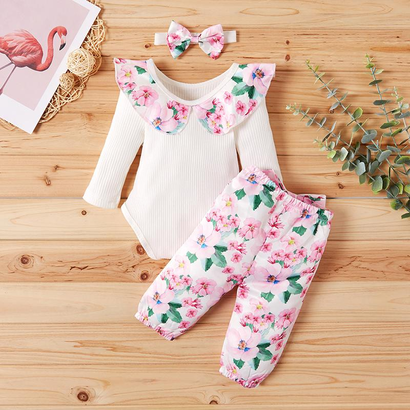 3-piece Floral Printed Ruffle Bodysuit with Headband & Pants for Baby Girl