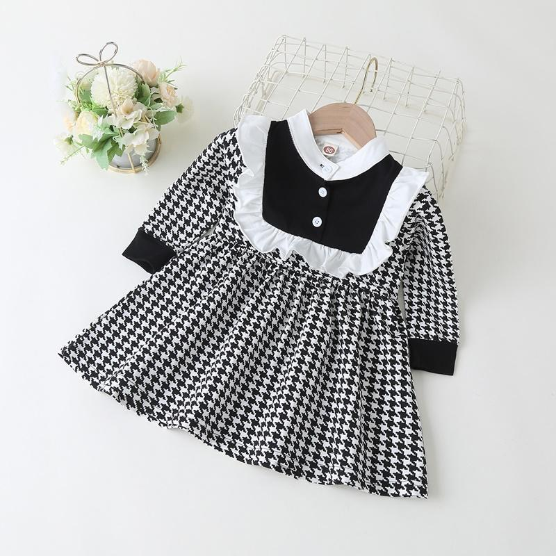 Ruffle Houndstooth Dress for Toddler Girl
