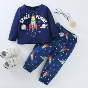 2-piece Galaxy Pattern Pajamas Sets for Baby Boy