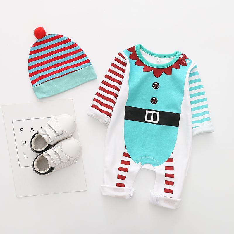 2-piece Christmas Color-block Jumpsuit & Hat for Baby Boy