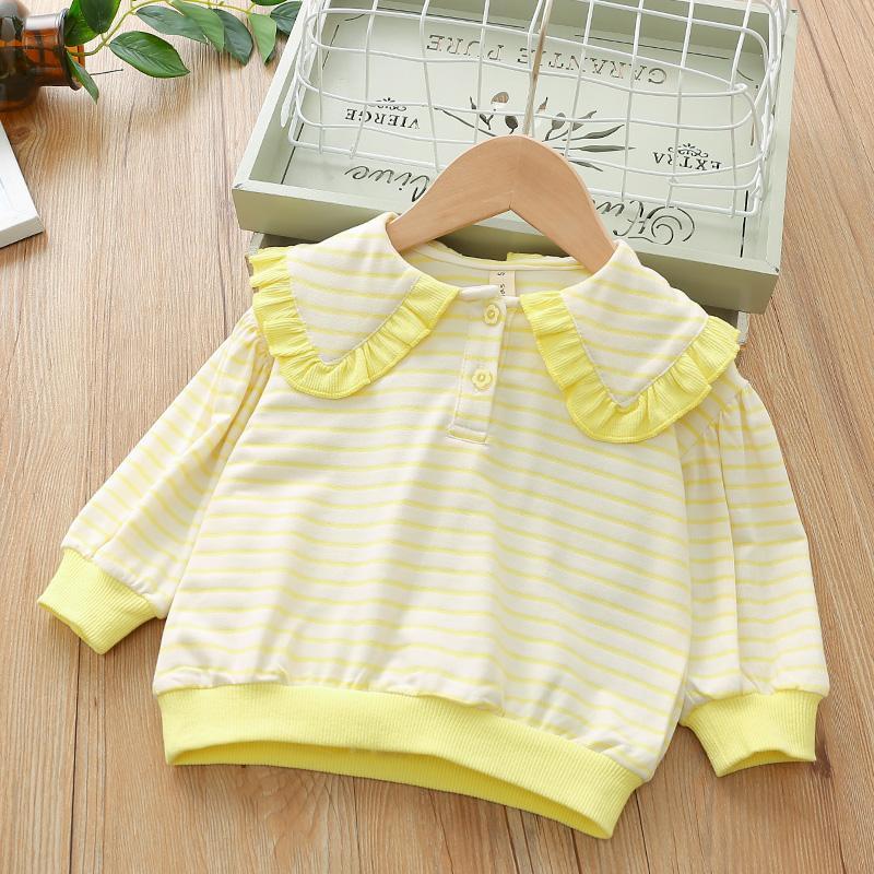 Striped Lapel Collar Sweatshirts for Toddler Girl