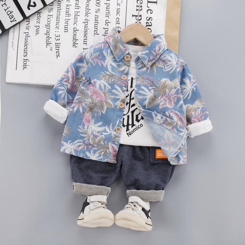 3-Pieces Fashion Color-block Floral Jacket +T-shirt +Pants