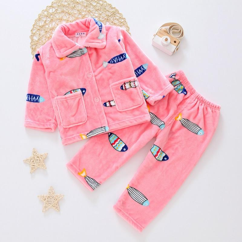 2-piece Winter Thick Pajamas Sets for Toddler Girl