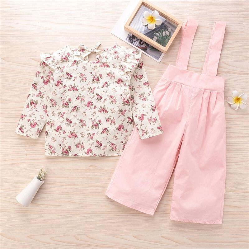 2-piece Sweet Floral Printed Blouse & Overalls for Toddler Girl