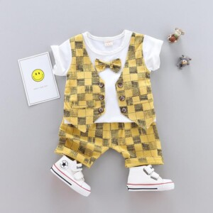 2-piece Fashion Plaid Bow Gentry T-shirt and Casual Suits