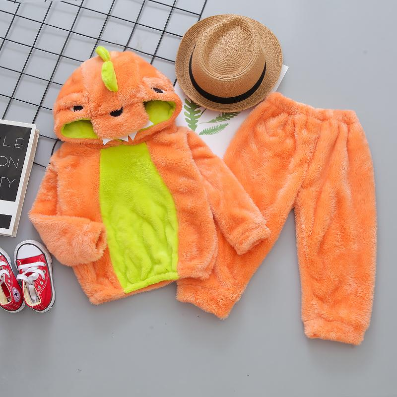 2-piece Dinosaur Pattern Flannel Hoodie & Pants for Toddler Boy