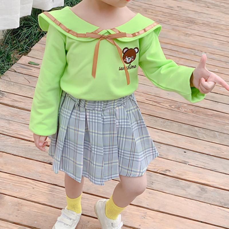 2-piece Bear Pattern Dress Set for Toddler Girl