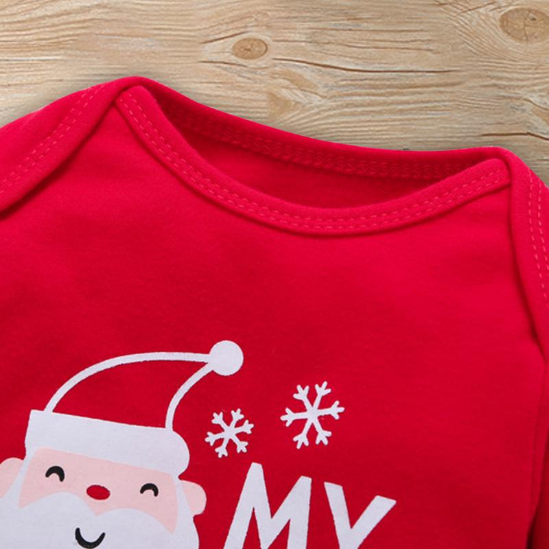 Father Christmas Pattern Bodysuit and Pants with Applique in Back