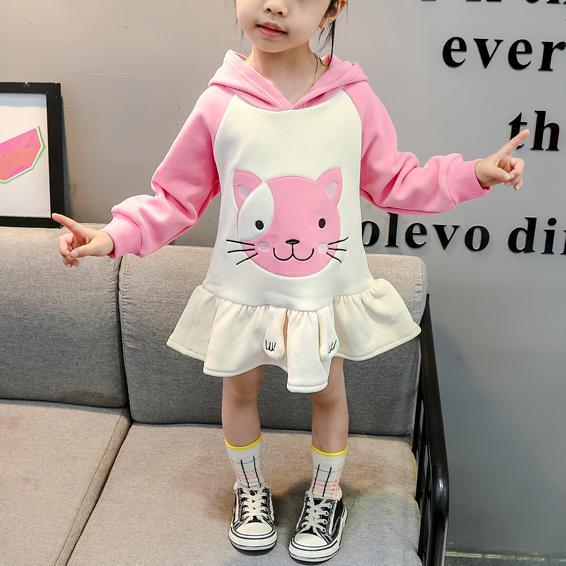Cat Pattern Dress for Toddler Girl