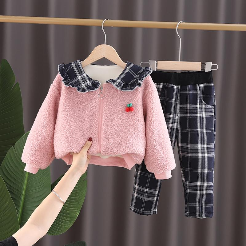 2-piece Fleece-lined Coat & Plaid Pants for Toddler Girl