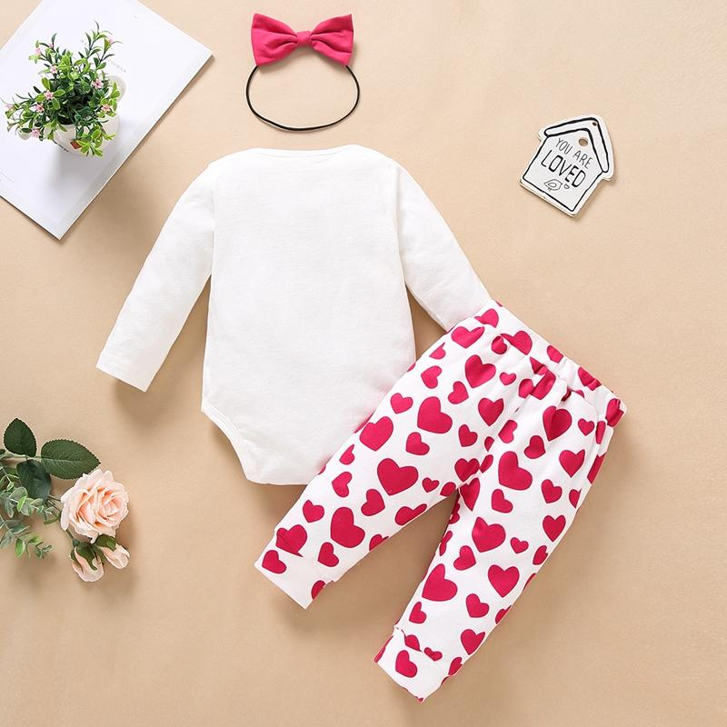 3-piece Headband & Heart-shaped Pattern Pants & Romper for Baby Girl