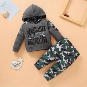 2-piece Camouflage Pattern Hoodie & Pants for Baby Boy