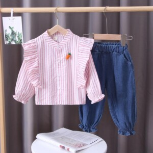 2-piece Carrot Pattern Shirt & Pants for Toddler Girl