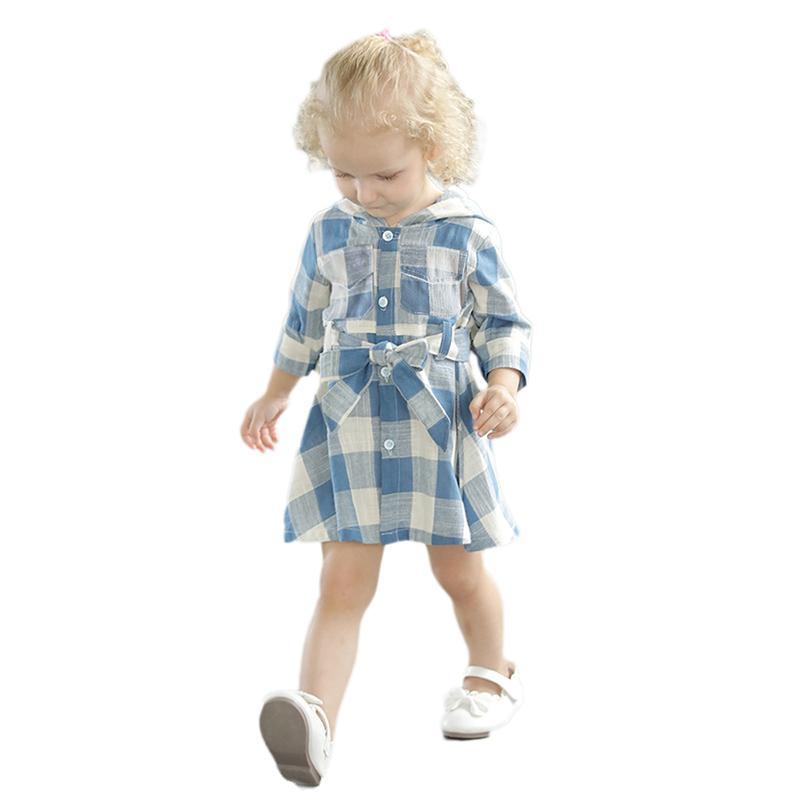 Plaid Hooded Dress for Toddler Girl