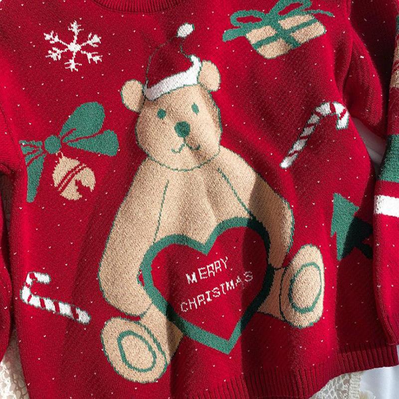 Bear Pattern Sweater for Toddler Girl