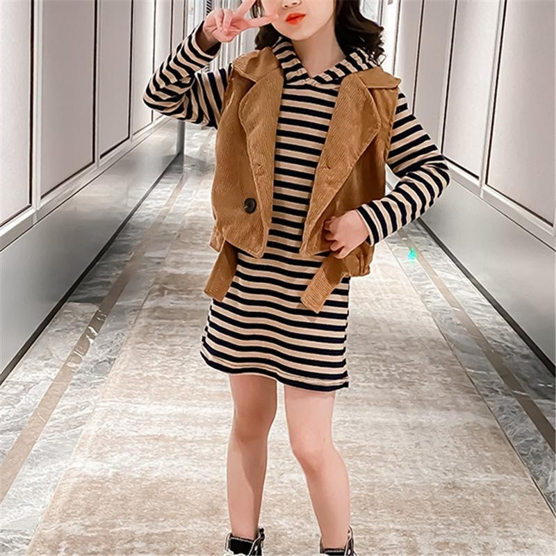 2-piece Vest & striped Dress for Girl
