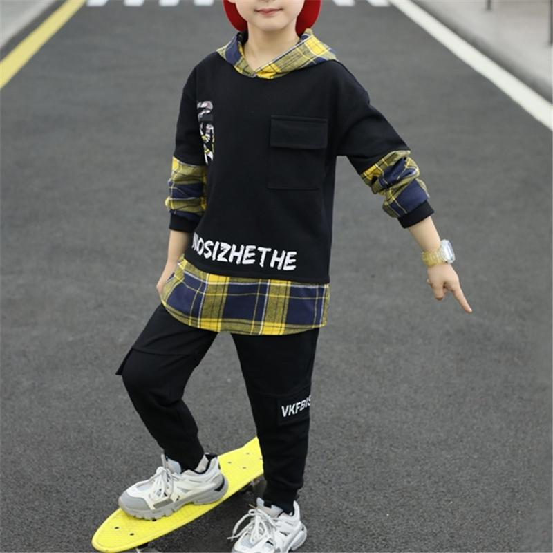 2-piece Plaid Hoodie & Pants for Boy