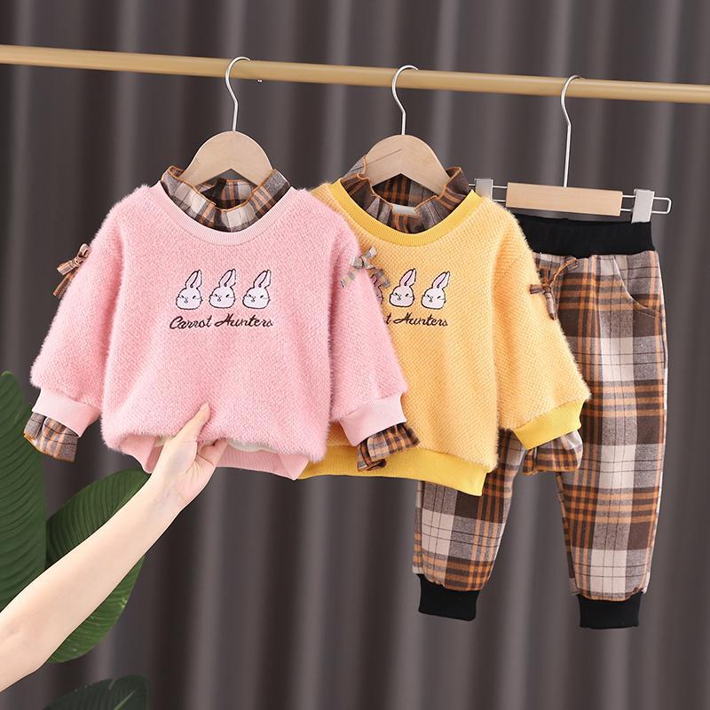 2-piece Fleece-lined Sweatshirts & Plaid Pants for Toddler Girl