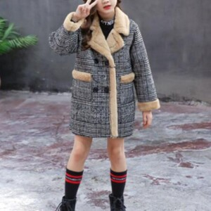Houndstooth Duffle Coat for Girl