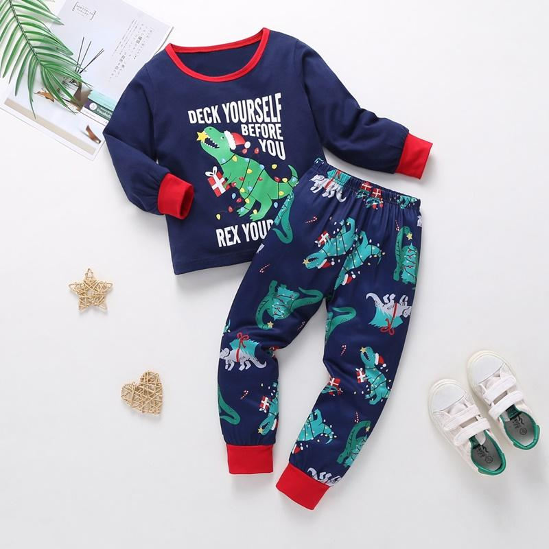 2-piece Dinosaur Pattern Pajamas Sets for Toddler Boy