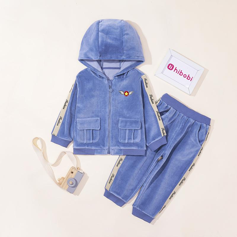 2-piece Velvet Hoodie & Pants for Toddler Boy