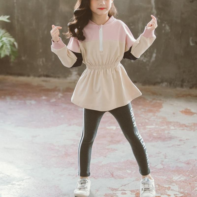 2-piece Color-block Sweatshirts & Skirts for Girl