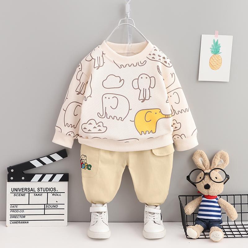 2-piece Elephant Pattern Sweatshirts & Pants for Toddler Boy